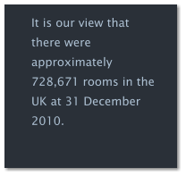 It is our view that there were approximately 728,671 rooms in the UK at 31 December 2010.